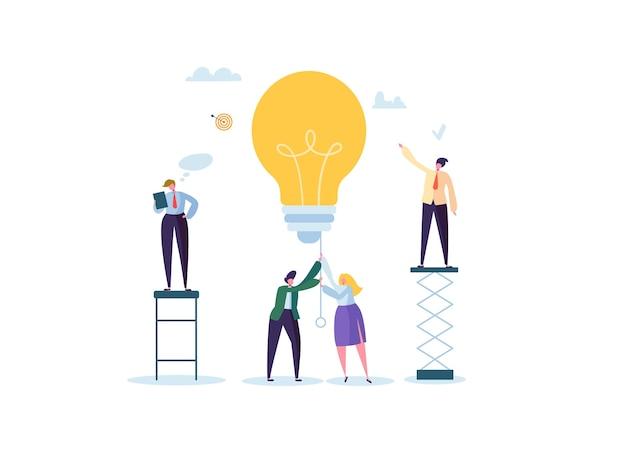 Geschäftsleute charaktere, die zusammen an neuem projekt arbeiten