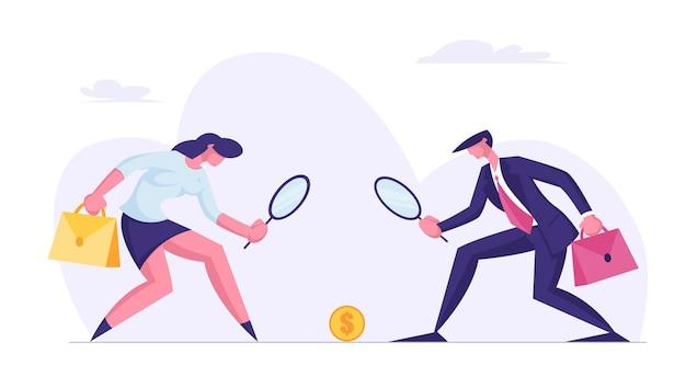 Geschäftsleute charaktere mann und frau, die auf goldene dollar-münze schauen