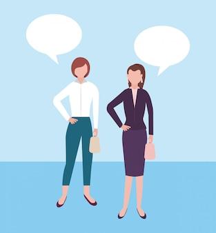 Geschäftsleute charaktere mit leeren spracheblasen