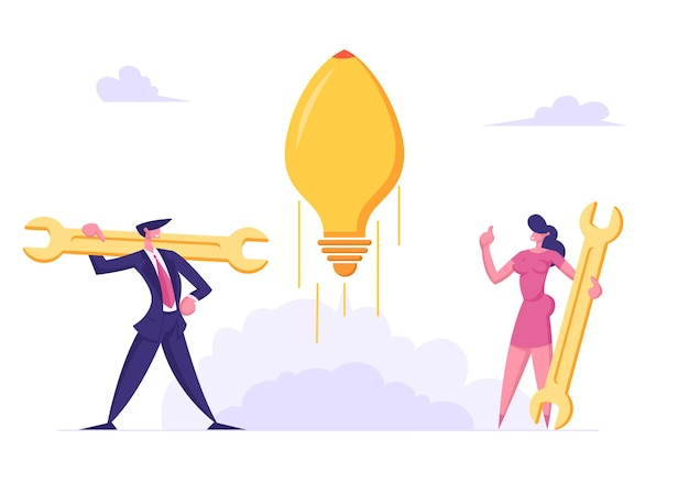 Geschäftsleute charaktere starten start-up-illustration