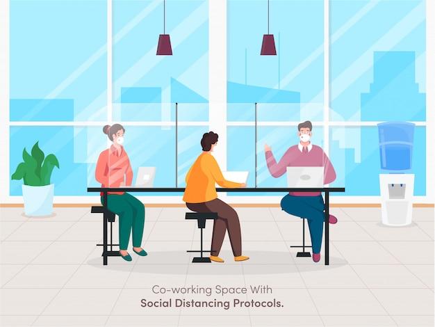 Geschäftsleute coworking spaces mit wahrung der sozialen distanz zum schutz vor der ausbreitung von coronavirus.
