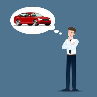 Geschäftsleute denken über den kauf eines autos nach.