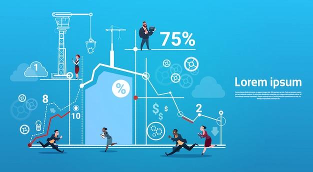 Geschäftsleute der gruppe laufen team finance graph competition concept