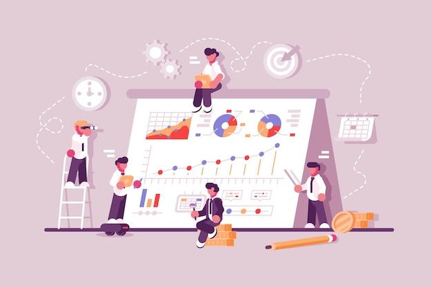 Geschäftsleute, die am finanzproduktivitätsdiagramm arbeiten