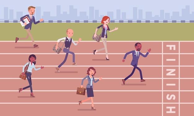 Geschäftsleute, die am geschäftswettbewerb laufen
