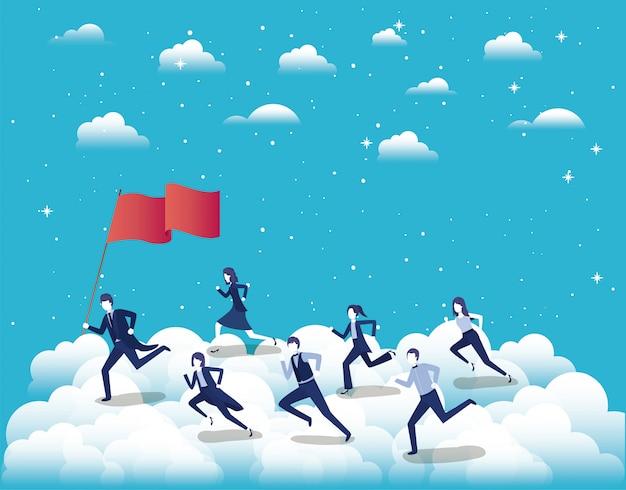 Geschäftsleute, die am himmel mit flagge konkurrieren