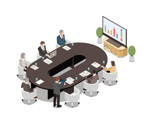 Geschäftsleute, die am ovalen schreibtisch sitzen und die lcd-bildschirmpräsentation im konferenzraum 3d isometrisch ansehen