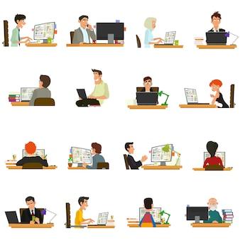 Geschäftsleute, die an computern und laptops arbeiten. geschäftsfrau, die für einen laptop arbeitet. leute, die am tisch sitzen und arbeiten.