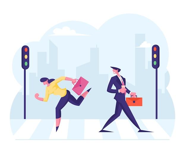 Geschäftsleute, die an der stadtstraße entlang des straßenkreuzweges mit ampeln im stadtzentrum gehen