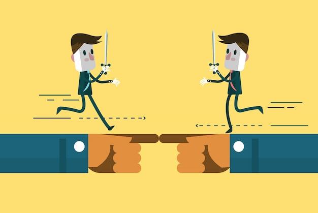 Geschäftsleute, die an hand contro kämpfen
