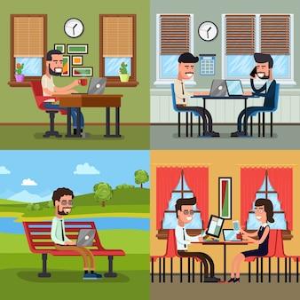 Geschäftsleute, die an verschiedenen arbeitsplätzen arbeiten. büroarbeit, teamarbeitsbeschäftigung, vektorillustration