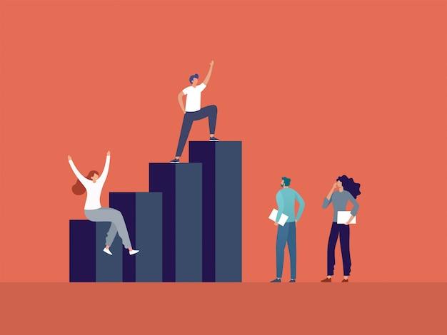 Geschäftsleute, die auf der diagramm-, geschäftsführungs- und teamwork-illustration stehen.