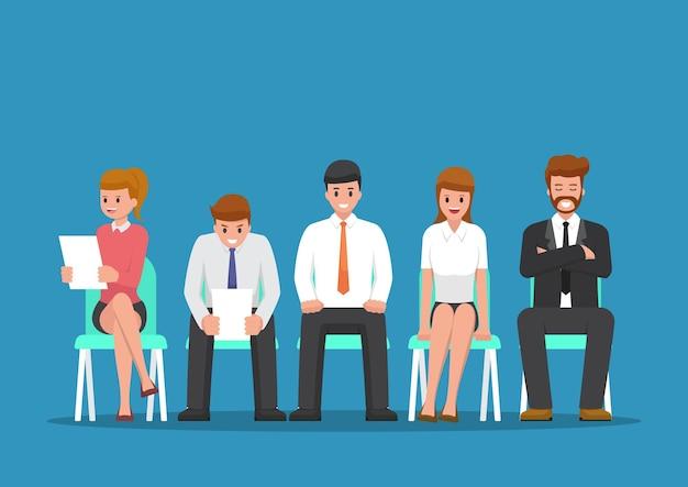 Geschäftsleute, die auf ein vorstellungsgespräch warten. personal- und recruiting-stellenkonzept
