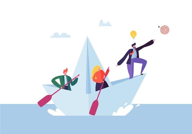Geschäftsleute, die auf einem papierschiff schwimmen