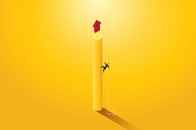Geschäftsleute, die auf einem seilpfad zum ziel oder zum erreichen des geschäftsziels und des motivationswachstumserfolgs klettern