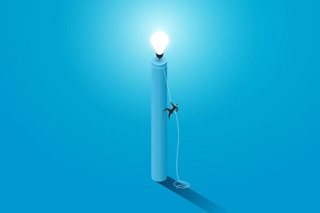 Geschäftsleute, die auf einem seilpfad zur glühbirne oder zum flachen isometrischen illustrationsvektor der leistung klettern