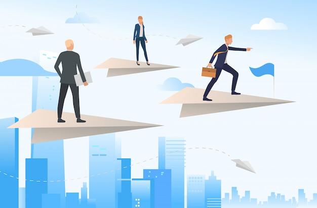 Geschäftsleute, die auf fliegenden papierflugzeugen stehen