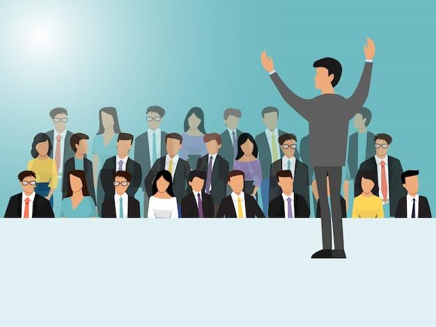 Geschäftsleute, die auf seminar-, besprechungs- oder konferenzillustration sprechen. rückansicht des geschäftssprechers. mann, der vor der menge steht.