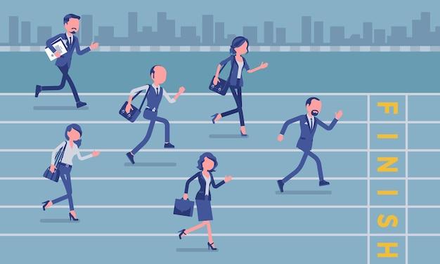 Geschäftsleute, die beim geschäftswettbewerb laufen