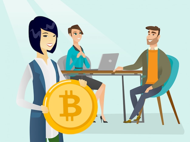 Geschäftsleute, die bitcoin-münze für erhalten, beginnen.