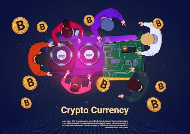 Geschäftsleute, die bitcoins-spitzenwinkelsicht-krypto-währungs-konzept gewinnen