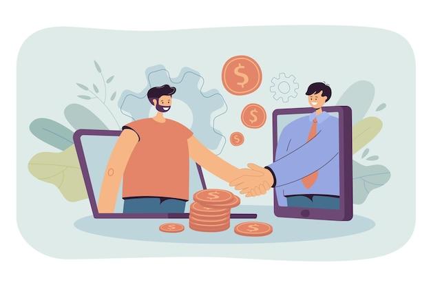 Geschäftsleute, die computer für den online-abschluss von geschäften verwenden. karikaturillustration