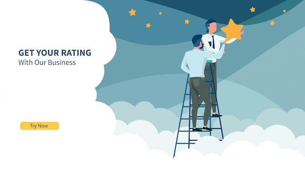 Geschäftsleute, die den stern mit flachem design und landing page auswählen