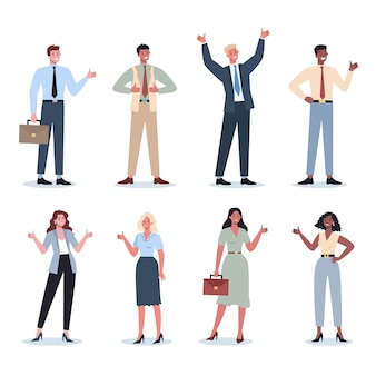 Geschäftsleute, die ein zeichen von ok zeigen. weibliche und männliche charaktere mit übereinstimmungszeichen. unternehmer lächeln mit zustimmung. erfolgreicher mitarbeiter, leistungskonzept.