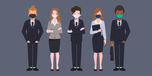 Geschäftsleute, die eine gesichtsmaske tragen.