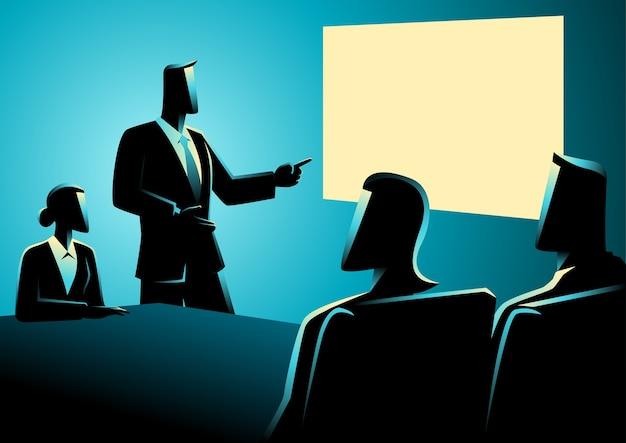 Geschäftsleute, die eine sitzung unter verwendung des projektors haben