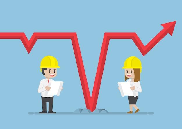 Geschäftsleute, die einen schutzhelm tragen und das konzept der fallenden grafik-, geschäfts- und finanzanalyse analysieren