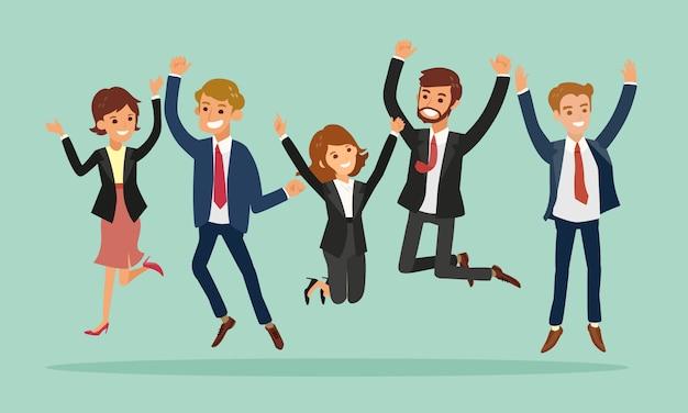 Geschäftsleute, die erfolgskarikatur feiernd springen