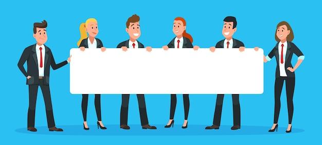 Geschäftsleute, die fahne halten. mann und frau büroangestellte in anzügen und krawatten mit leerem oder leerem schild für text. mitarbeiter, die nach einem neuen kandidaten suchen, mit ankündigungsvektorillustration
