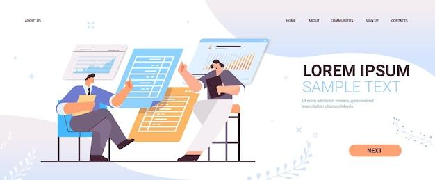 Geschäftsleute, die finanzdaten in diagrammen und grafiken analysieren, die landingpage des planungsberichts planen