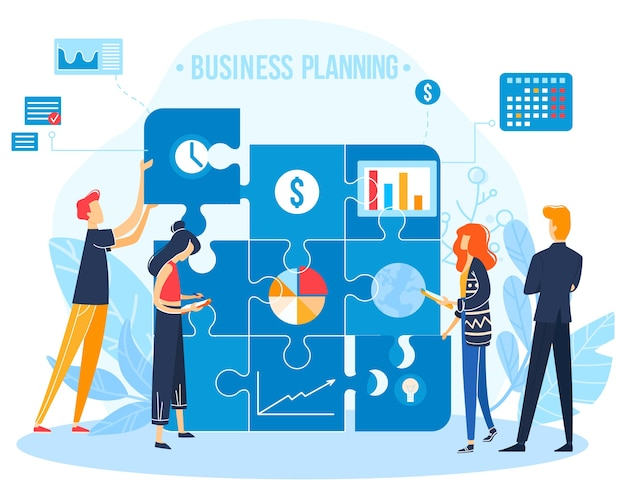 Geschäftsleute, die flache vektorillustration planen. karikaturmann frau mitarbeiter charakter team verbindung puzzle, zusammenarbeiten in projektmanagement geschäftsplan