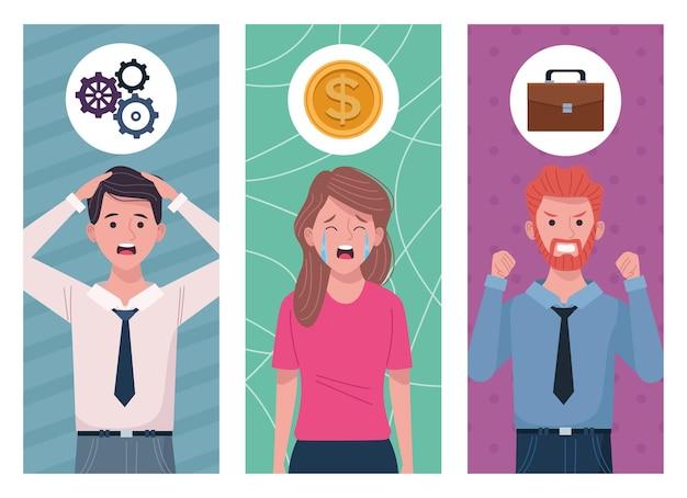 Geschäftsleute, die für die illustration der informationsüberflutung extrudiert wurden