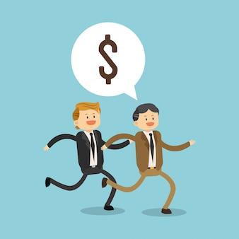 Geschäftsleute, die für geld laufen