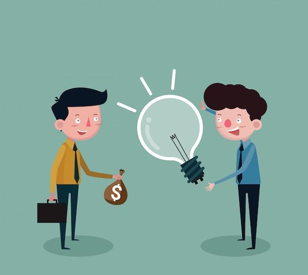 Geschäftsleute, die geld mit lampen für ideen handeln