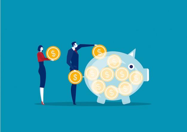Geschäftsleute, die geld sparen und ansammeln