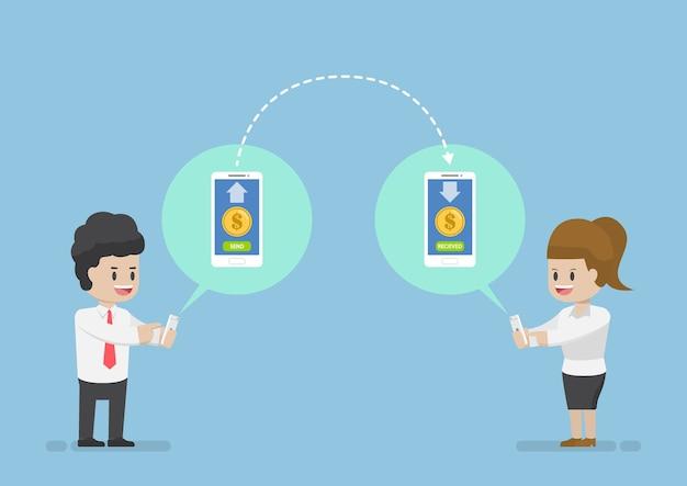 Geschäftsleute, die geld über smartphone senden und empfangen