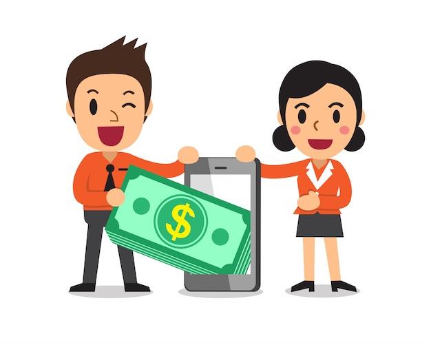Geschäftsleute, die geldstapel vom smartphone ziehen