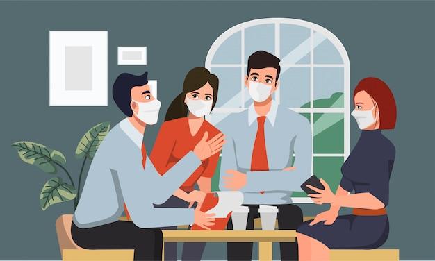 Geschäftsleute, die gesichtsmaske im neuen normalen lebensstil arbeiten teamwork brainstroming charakter tragen.