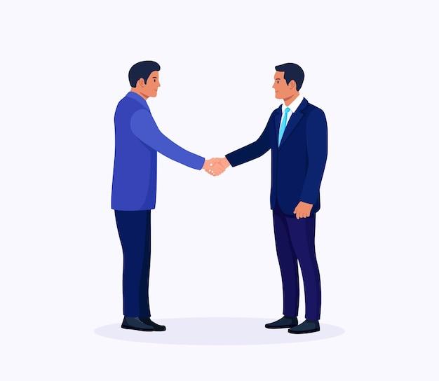 Geschäftsleute, die hände rütteln. händedruck von zwei männern. vereinbarung der parteien. partnerschaftskonzept. erfolgreiche verhandlungen. treffen mit geschäftspartnern