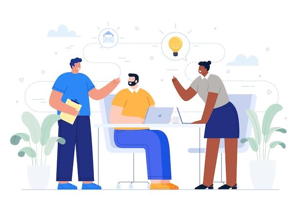 Geschäftsleute, die ideen teilen