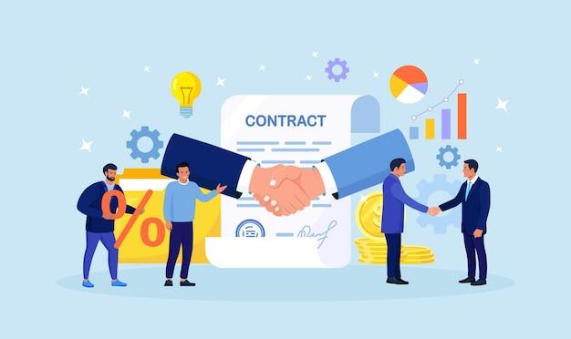 Geschäftsleute, die ihre hände schütteln, um die vereinbarung zu bestätigen. erfolgreiche partner unterzeichnen vertragsdokument mit stempel. partnerschaft, kooperation, geschäftsbeziehung. händedruck