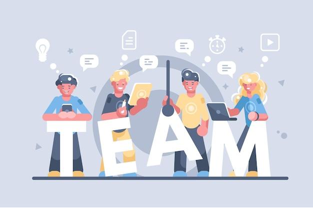 Geschäftsleute, die illustration zusammenarbeiten