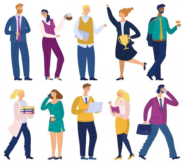 Geschäftsleute, die im büro, karikaturfigurenillustrationsmänner und -angestellte arbeiten