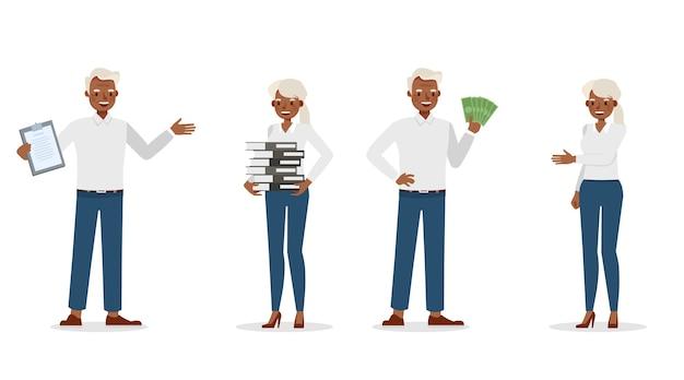 Geschäftsleute, die im bürocharakter arbeiten