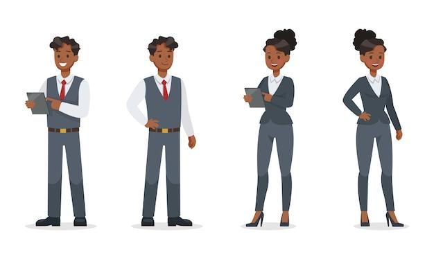 Geschäftsleute, die im bürozeichensatz arbeiten