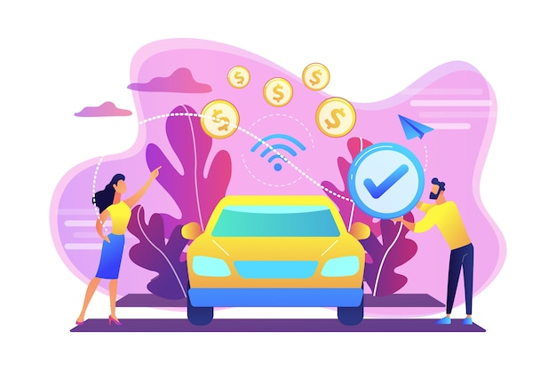 Geschäftsleute, die im fahrzeug bezahlen, sind mit einem zahlungssystem im auto ausgestattet. bei fahrzeugzahlungen, in-car-zahlungstechnologie, modernem einzelhandelsdienstleistungskonzept. helle lebendige violette isolierte illustration